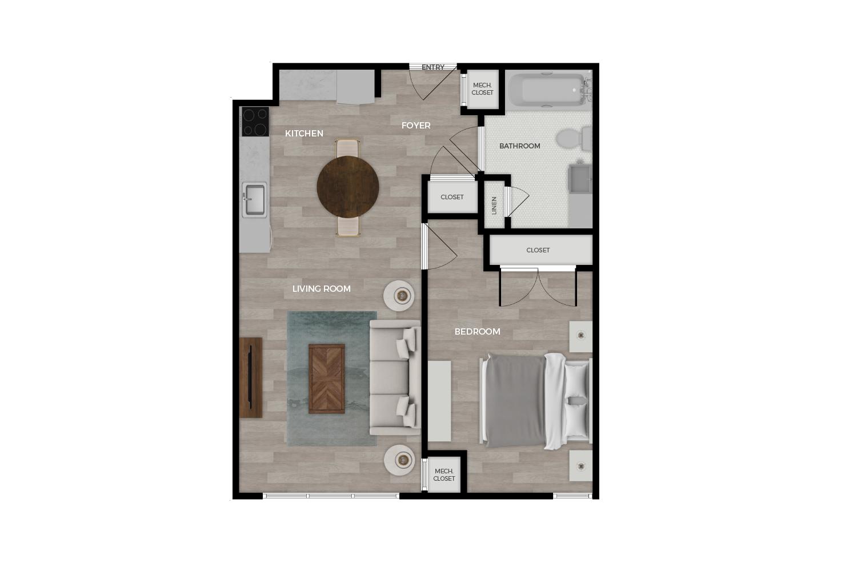"""Floor plan rendering of """"Anolia"""" 1-bedroom unit"""