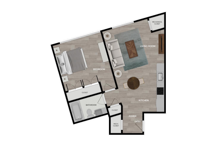 "Floor plan rendering of ""Brody"" 1-bedroom unit"
