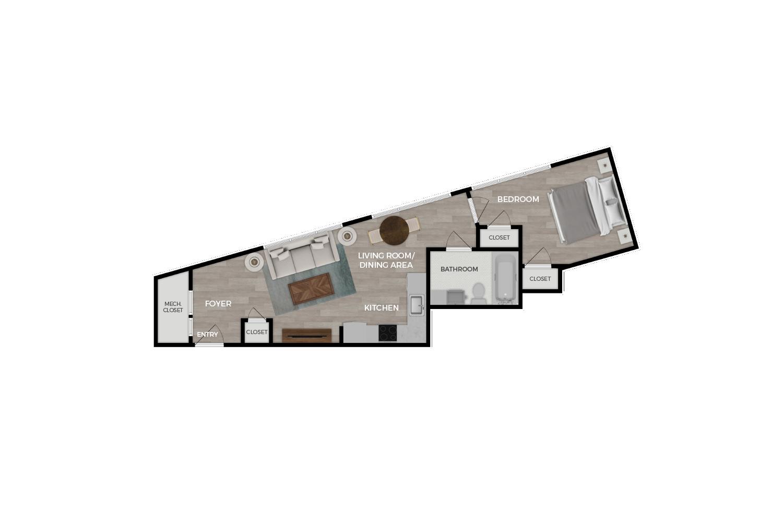 """Floor plan rendering of """"The Archer"""" 1-bedroom unit"""