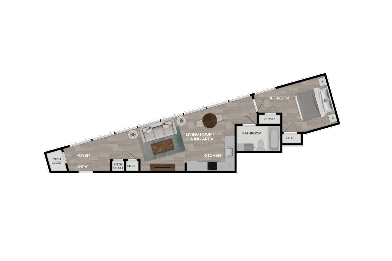 """Floor plan rendering of """"The Dawn"""" 1-bedroom unit"""