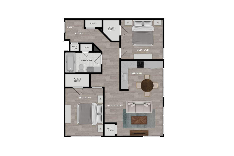"Floor plan rendering of ""Bradley"" 2-bedroom unit"