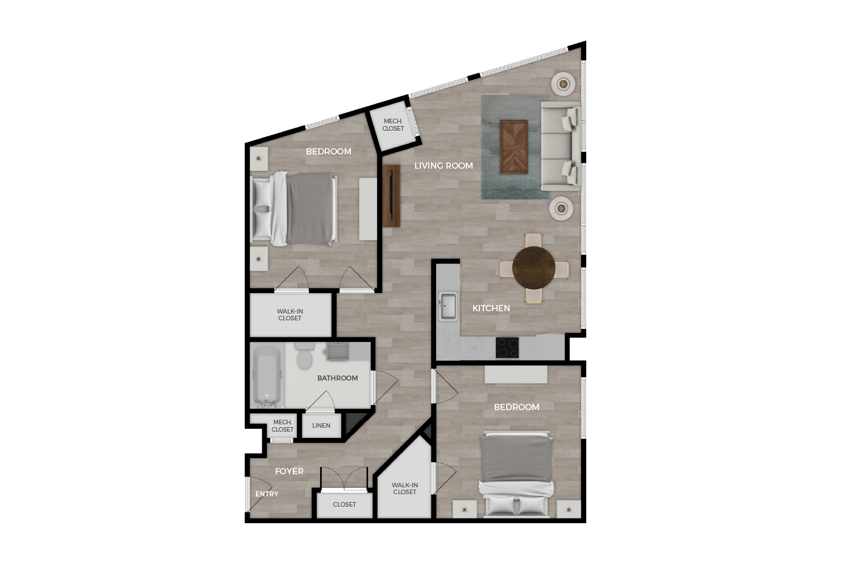 "Floor plan rendering of ""The Monument"" 2-bedroom unit"