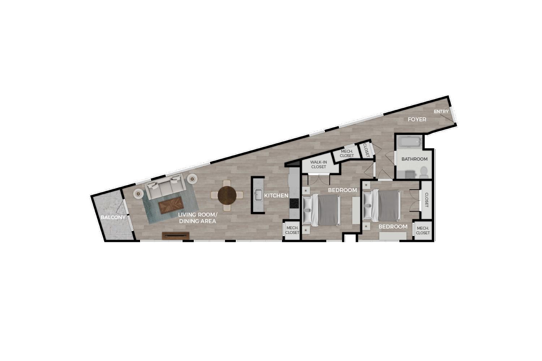 """Floor plan rendering of """"The Capitol"""" 2-bedroom unit"""