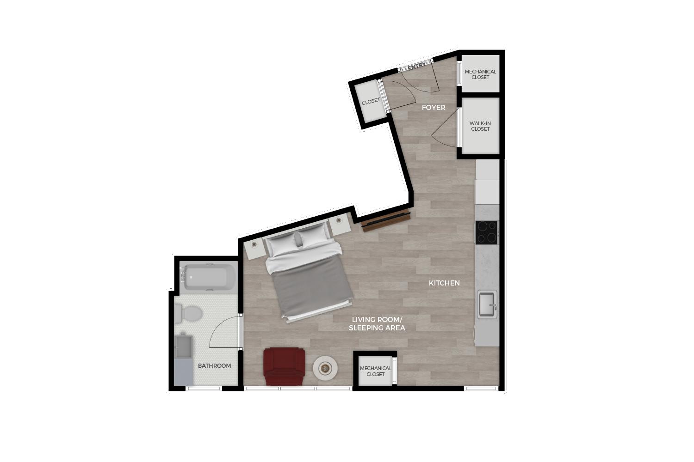 "Floor plan rendering of ""The Magnolia"" Studio unit"