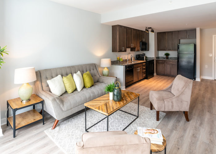 View of living room and kitchen in 1-bedroom apartment