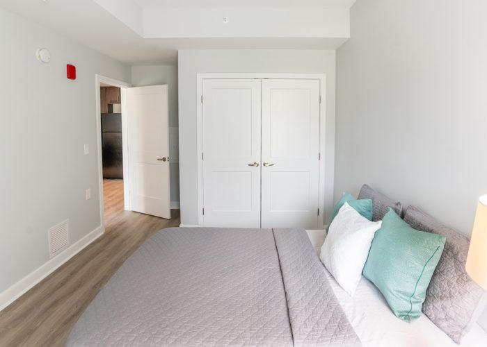 Bedroom, looking towards closet and door