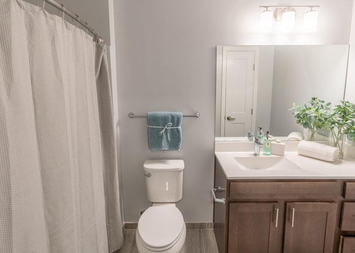 View of toilet and vanity in bathroom