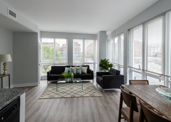 Living room, with floor to ceiling windows