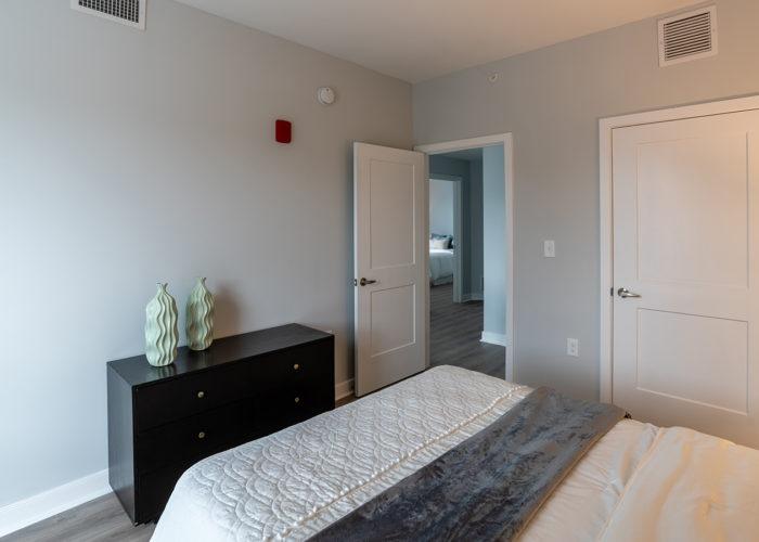 Bedroom, looking towards hallway and second bedroom