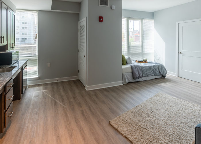 View of kitchen and sleeping area in Studio apartment