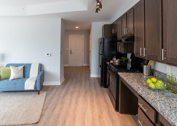 View of kitchen and sitting area in Studio apartment